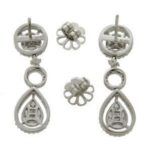 ¦18K White Gold 2.40 CT Marquise & Round invisible Set Diamonds Earrings »N112