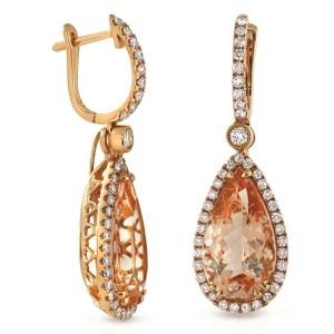 Fancy 18K Rose Gold 0.97 CT Diamonds 8.80 CT Morganite Tear Drop Earrings »N119