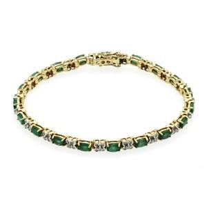 """3.42 CT Natural Zambian Emerald & 0.48 CT Diamonds 14K Yellow Gold Bracelet 7"""""""