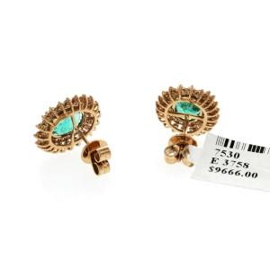2.71 CT Zambian Emerald & 1.69 CT Diamonds in 14K Rose Gold 14mm Stud Earrings