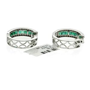 0.98 CT Colombian Emerald & 0.34 CT Diamonds 14K White Gold 20 mm Hoop Earrings