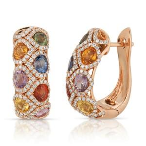 3.49 CT Multicoloer Sapphires 1.10 CT Diamonds 18K Rose Gold Huggie Earrings