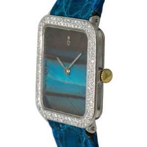 Corum Peacock Feather 27536/7623 Unisex Hand Wind 18k WG Diamonds Watch 26mm