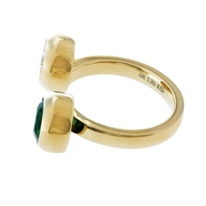 1.28 CT Zambian Emerald & 0.32 CT Diamonds in 14K Yellow Gold Ring