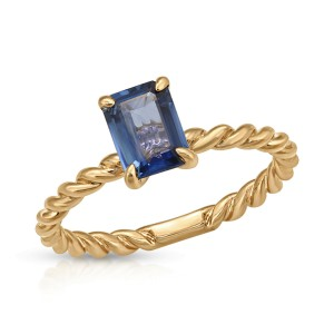 1.03 CT Blue Sapphires 14K Rose Gold Ring Size 6-8