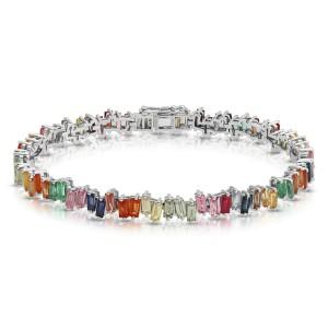 "11.10 CT Natural Multi Gemstones 14K White Gold Bracelet 7"""