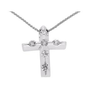"0.75 CT Round Diamonds 14K White Gold Cross Pendant Necklace Size 18"" » U46"