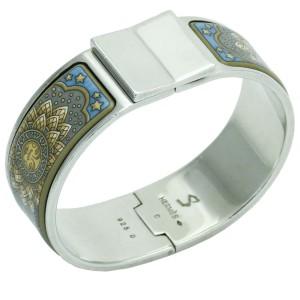 Hermes Clic Clac Sun Stars Celestial Enamel Wide Bangle Bracelet Sterling Silver