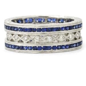 Beverley K Sapphire Diamond Art Deco Style Eternity Band in 18k White Gold