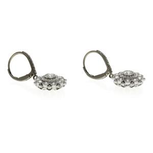 Fine 18K White Gold 2.48 Ct Natural Diamonds Flower Dangle Earrings