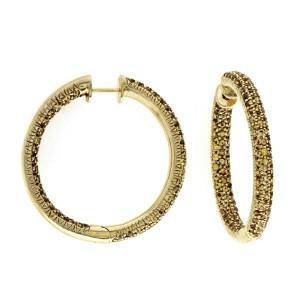Fine 14K Yellow Gold 1.25 CT Yellow Sapphire 30 mm Hoop Earrings