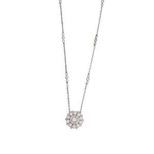 "18K White Gold 1.14 CT Diamonds Flower Necklace Size 17"""