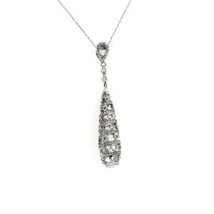 "18K White Gold 0.75 CT Diamonds Spiral Drop Necklace Size 18"""