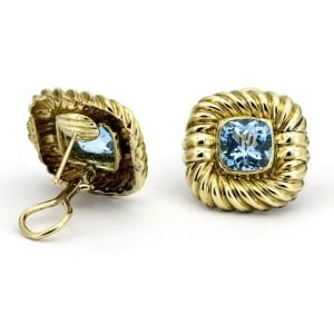 David Yurman Cable Classics Blue Topaz 14k Yellow Gold Earrings