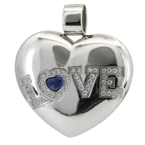 Chopard Heart Pendant Happy Love Diamond Sapphire 18k White Gold