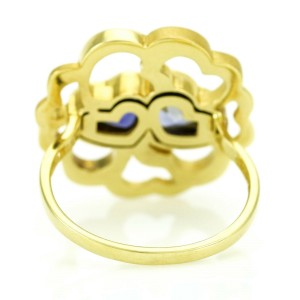 Carrera y Carrera Iolite Hearts Statement Ring in 18k Yellow Gold Size 6.75