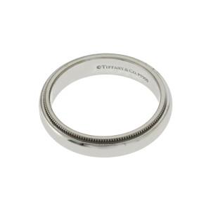 Au Tiffany & Co. 950 Platinum Milgrain 4 mm Band Ring Size 7 »U124 $1700