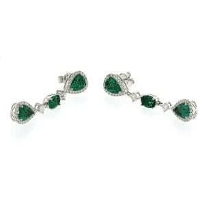 "6.89 CT Colombian Emerald & 1.79 CT Diamonds 18K White Gold 1.9"" Drop Earrings"