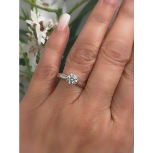 Hearts on Fire Signature Diamond Engagement Ring Round 0.71 ct 18k White Gold