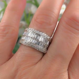 Le Vian 18k White Gold Round & Baguette Diamond Wedding Band Ring 1.55 tcw
