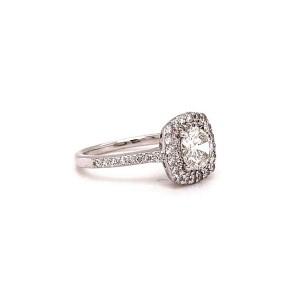 Round Brilliant Double Halo Diamond Ring 1.31 Carats 14K White Gold