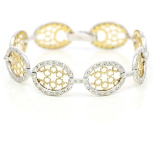Charriol Diamond Openwork Oval Link DaVinci Bracelet in 14k White Yellow Gold