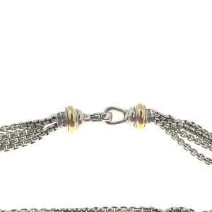 "Auth David Yurman 18k Gold 925 Sterling Silver Multi Strand Diamond Necklace 16"""