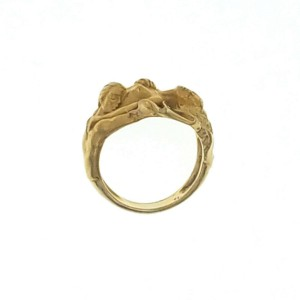 Authentic Carrera y Carrera 18K Yellow Gold Nude Adam & Eve Erotic Ring Size 8.5