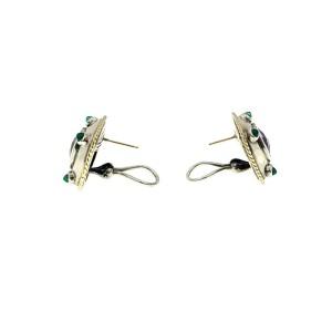 David Yurman 18K Gold 925 Sterling Silver Amethyst Green Onyx Classic Earrings