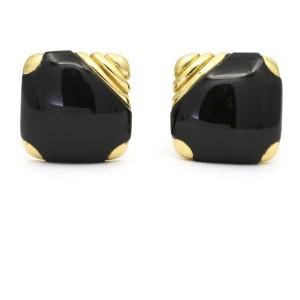 Michael Bondanza Black Onyx Square Earrings in 18k Yellow Gold