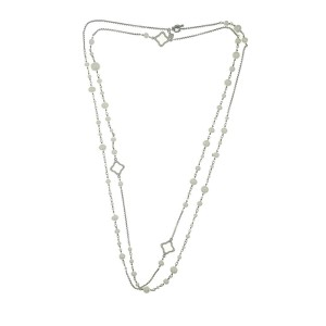 Auth David Yurman 925 Sterling Silver Quatrefoil Pearls Chain Necklace Size 48""