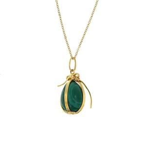 "Au Tiffany & Co. 18K Yellow Gold Schlumberger Green Malachite Egg Necklaces 18"""