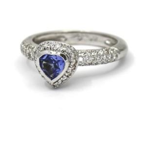 Barry Kronen Heart Tanzanite Pave Diamond Ring 18k White Gold