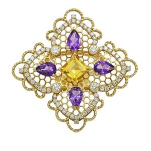 Georland Citrine Amethyst Diamond Ring in 18k Yellow Gold  (2.71 ct tw )