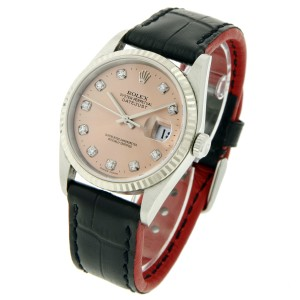 Rolex Datejust 16030 Stainless Steel Salmon Dial With Diamond Hour Marker 36mm Mens Watch