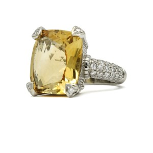 Judith Ripka Citrine Diamond Fashion Statement Ring in 18k White Gold