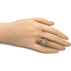 David Yurman Diamond Star Burst Sterling Silver Bypass Ring