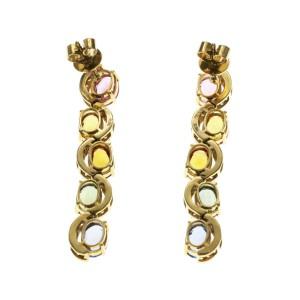 8.65 CT Multicoloer Sapphires 0.73 CT Diamonds 14K Yellow Gold Dangle Earrings