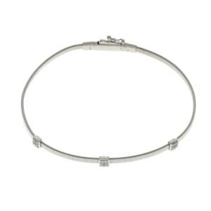"Marco Bicego Marrakech Collection 18k White Gold Diamond Stackable Bracelet 6.5"""