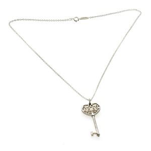 "Tiffany & Co 925 Sterling Silver Enchant Heart Key Necklace Size 16"" »U210"