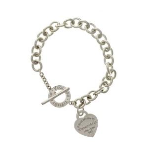 "Tiffany & Co. Sterling Silver Return To Tiffany Heart Charm Bracelet 7.5"" »U212"