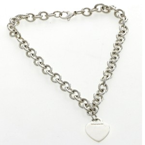 """Auth Tiffany & Co 925 Sterling Silver Heart Tag Link Necklace Size 16"""" »U221"""