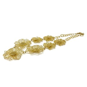 Filigree Flower Link 14k Yellow Gold Collar Necklace