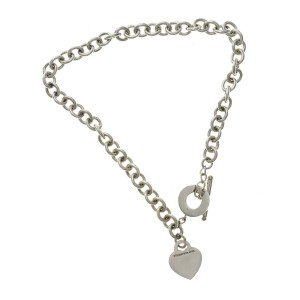 Return to Tiffany & Co 925 Sterling Silver Heart Tag Link Necklace Size 16""