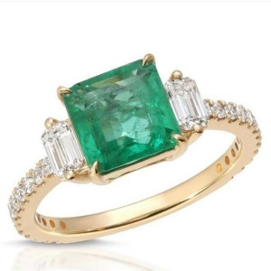1.66 CT Colombian Emerald & 0.60 CT Diamonds in 14K Yellow Gold Engagement Ring