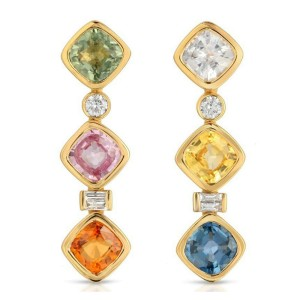 3.84 CT Multicoloer Stones 0.18 CT Diamonds 18K Yellow Gold Dangle Earrings