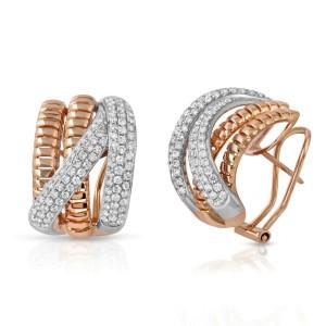 Fine 18K Rose Gold 1.89 Ct Natural Diamonds Crossover Huggie Earrings