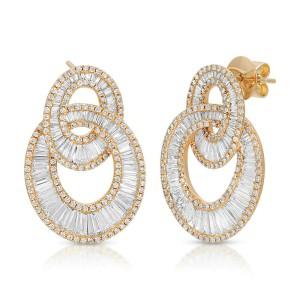 Fine 18K Yellow Gold 5.49 Ct Natural Diamonds Oval Interlocking Earrings