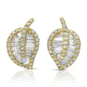 Fine 14K Yellow Gold 0.92 Ct Natural Diamonds Leaf Earrings