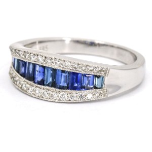 14k White Gold Sapphire Diamond Band Ring